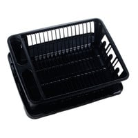 United Solutions SK0031 Two Piece Dish Rack and Drain Board Set in Black-2 Piece Large Sink and Kitchen Set Includes Dish Drainer and Drain board with Room for 14 Plates, 7 Small Plates/Bowls, and 8 Cups/Glasses plus Flatware