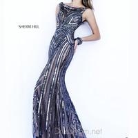 Bateau Neckline Sequin Formal Prom Gown By Sherri Hill 6301