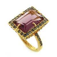 Louise Et Cie Gold-Tone and Mauve Stone Ring