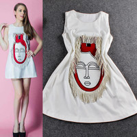 Solid Sleeveless Head Embroidered Tasseled Mini Dress