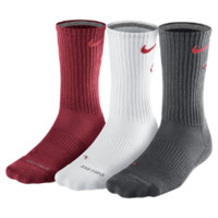 Nike Dri-FIT Cotton Fly Crew Socks 3 Pair - Gym Red