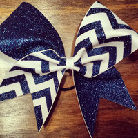 Navy blue and white chevron cheer bow.