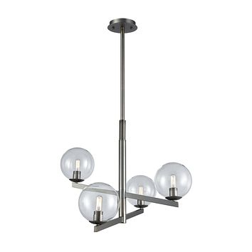 Globes of Light 4-Light Chandelier in Brushed Black Nickel with Clear Blown Glass