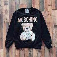 '' Moschino '' bear print long sleeve black sweater top H-spring