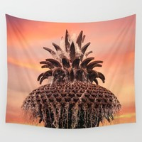 Pineapple Fountain Pink Wall Tapestry by Legends Of Darkness Photography