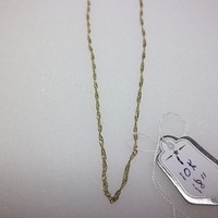 10 Kt. Gold Twist Chain Necklace, 18 Inch Length, 1mm Width, Weight 1.32 Grams