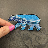animal embroidered patch glacial bear iron on patches iron on patch sew on patch