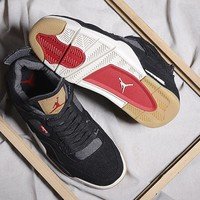 Levi's x Air Jordan 4 Black Men Women Basketball Shoe 36-47