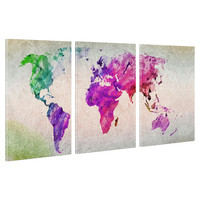 US SHIP Canvas Print Home Decor Wall Art Painting- Colorful World Map Framed