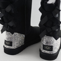 Custom UGG Boots made with Swarovski Bailey Bow Free: Shipping, Repair Kit, Cleaning Kit, Crystal Color, 48 hr Turnaround