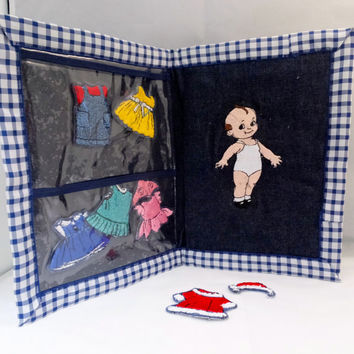 Handmade Doll Dress Up Kit Toy with Clothes and Travel Case for the Little Girl and Long Trips Unique Handmade gift.