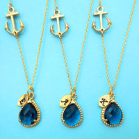 Set of 1-10,Nautical, NAVY glass,Wedding, Necklace, Marine, Anchor, Bridesmaid, Necklace, Bridal, Jewelry, Wedding, Jewelry, Necklace, Set