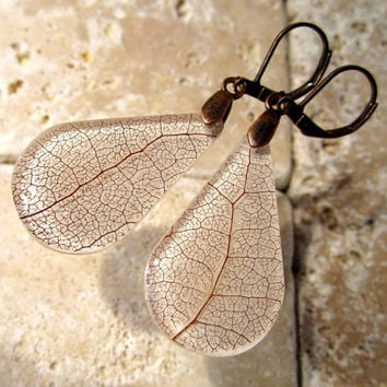 Skeleton Leaf Earrings, Salal (Gaultheria shallon), Leaf Jewelry, Plant Jewellery