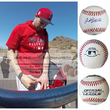 Anthony Bemboom Autographed Rawlings ROLB1 Baseball, Los Angeles Angels, Tampa Bay Rays, Proof Photo