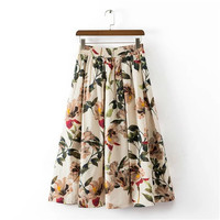 Summer Women's Fashion Floral Leaf Print Pleated Prom Dress [4920258052]