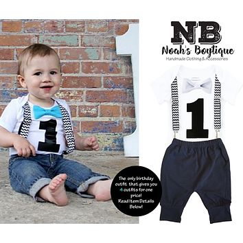 Black Chevron First Birthday Cake Smash Outfit with Black Pants