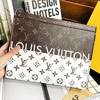 Inseva LV Louis Vuitton New fashion monogram contrast color leather couple clutch bag file package cosmetic bag handbag