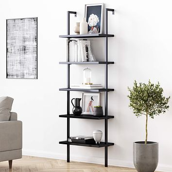 Nathan James Theo 5-Shelf Ladder Bookcase with Metal Frame, Black