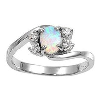 Sterling Silver Oval Created White Opal Ring (Size 5 - 10) - Size 8