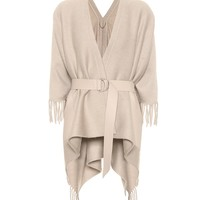 Belted cashmere cape