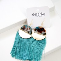 Stillwater Tassel Earrings, Teal