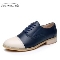 Genuine leather big woman US size 11 designer vintage flat shoes round toe handmade beige blue oxford shoes for women with fur