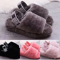 UGG Winter High Quality Autumn Winter Popular Women Cute Fluff Yeah Slippers Shoes I/A