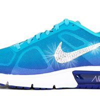 Nike Air Max Sequent + Swarovski Crystal Swoosh - Aqua