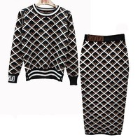 FENDI Women Fashion Top Sweater Pullover Skirt Set Two Piece