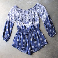 gazing at the stars off the shoulder romper with ruffle hem