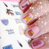 CLUELESS - waterslide nail decals - free shipping U S A - Andy Paerels