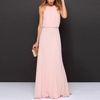 Pink Halter Pleated Chiffon Maxi Dress