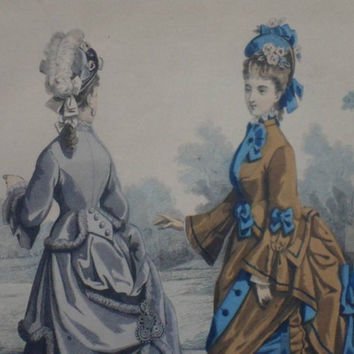 """19th Century French fashion print. Coloured lithograph published by """"The Young Englishwoman"""" in 1860s"""