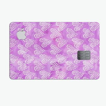 Micro Hearts Over Purple adn Piink Grunge Surface - Premium Protective Decal Skin-Kit for the Apple Credit Card