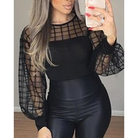 Sheer grid mesh casual blouse shirt Women Long sleeve tops womens blouse Black plaid slim tops summer Lantern sleeve blusas