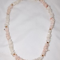 "Vintage Cream & Natural Pink Genuine Puka Shell 15"" Choker Necklace"
