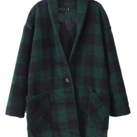 Green V-Neck Plaid Pattern Coat