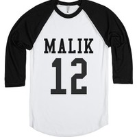 Malik 12 (Zayn + Birthday)-Unisex White/Black T-Shirt