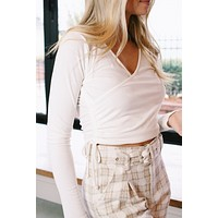 Ashleigh Overlap Knit Crop Top, Ivory
