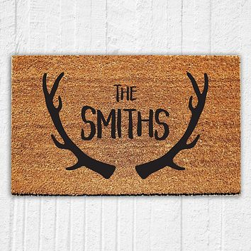Personalized Antler Last Name Doormat