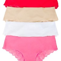 XOXO Juniors Laser Cut Lace Trim Back Hipster Panties 4-Pack (Large, Black/Red/Navy/L. Pink)