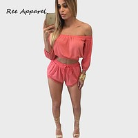 2016 New Arrival Two Piece Outfits Women Jumpsuit Women Long Sleeve off shoulder Short Jumpsuit Playsuit Sexy Rompers Female