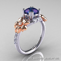 Nature Inspired 14K Two-Tone Gold 1.0 Ct Alexandrite Diamond Leaf and Vine Engagement Ring R245-14KTTWRGDAL
