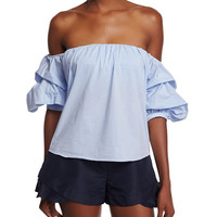 Johanna Ortiz Pinstriped Off-the-Shoulder Top, Blue/White