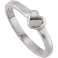 Heart Fashion Ring in Sterling Silver ( Size 6 )