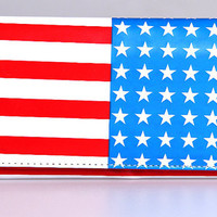 Fashion Classic USA Flag Long Tri fold Wallet Smooth PU Leather for Patriot