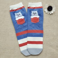FunShop Woman's Cat and Dog Pattern Cotton Ankel Socks in 2 Colors Dark Blue F1104