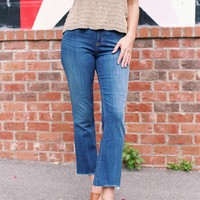 Mid Rise Cropped Flares, Medium Denim