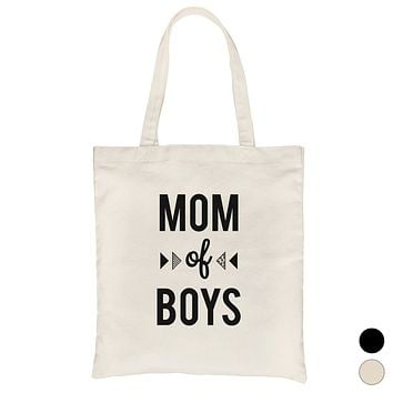 Mom Of Boys Heavy Cotton Canvas Bag Cute Beach Tote For Moms Gifts