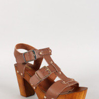 Bamboo Strappy Studded Faux Wood Heel